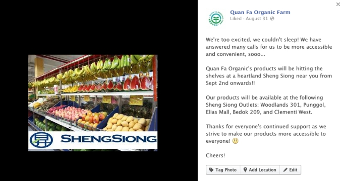 Quan Fa Organic Produce now Available at Sheng Siong